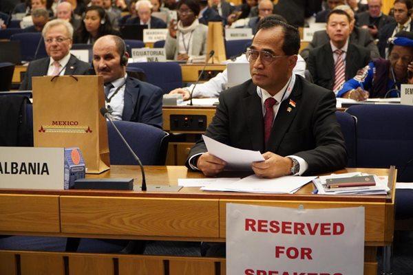 Menteri Perhubungan Budi Karya Sumadi saat menghadiri Sidang Majelis International Maritime Organization ke-31 di London, Inggris. - Istimewa/Ditjen Perhubungan Laut