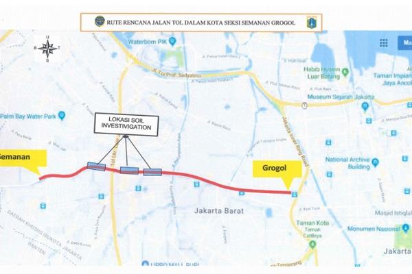 Rute rencana tol dalam kota seksi Semanan-Grogol, Jakarta Barat. - Antara