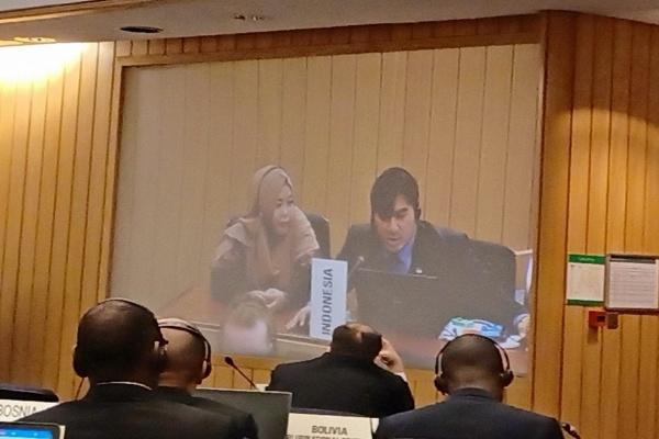 Delegasi Indonesia menyampaikan pernyataan dalam Sidang Majelis IMO ke-31 di London, Inggris, pada Senin (2/12/2019). - Istimewa/Ditjen Perhubungan Laut Kemenhub