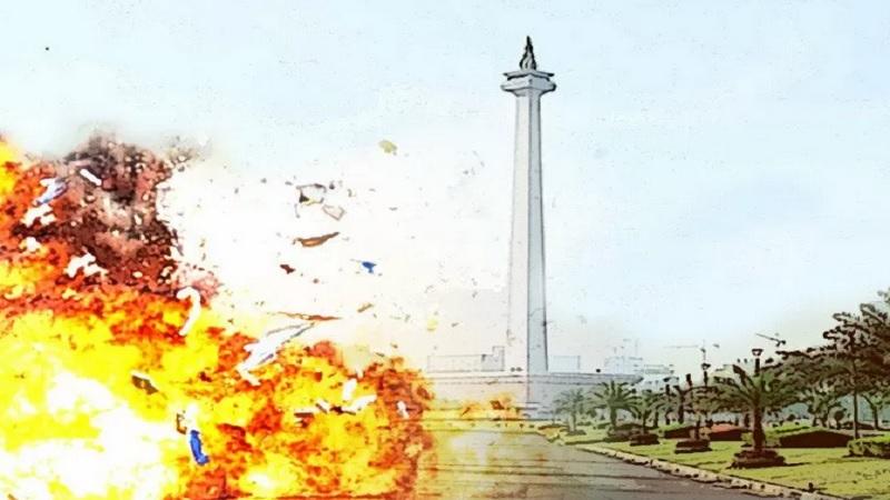 Ilustrasi ledakan di Monas Jakarta Pusat - Antara