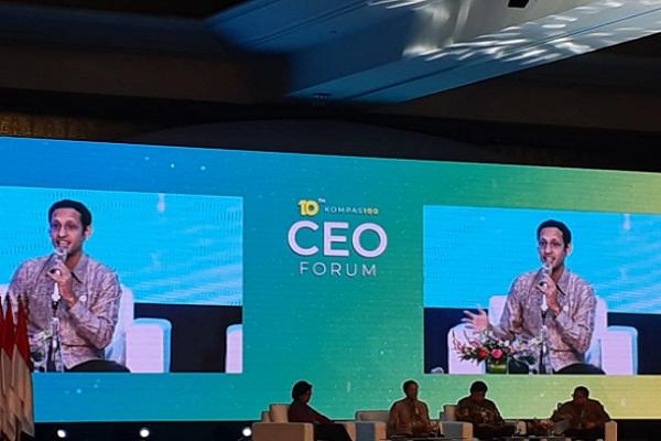 Mendikbud Nadiem Makarim berbicara di acara CEO Forum yang digelar Kompa, Kamis (28/11/2019). JIBI/Bisnis - Ria Theresia Situmorang