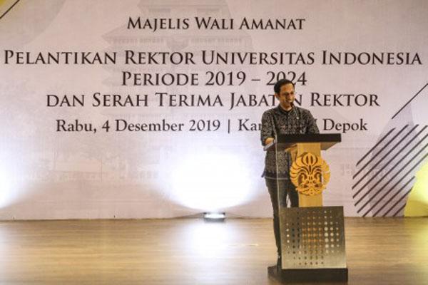 Menteri Pendidikan dan Kebudayaan Nadiem Makarim memberikan sambutan pada pelantikan rektor Universitas Indonesia di kampus UI Depok, Jawa Barat, Rabu (4/12/2019). - Antara/Asprilla Dwi Adha