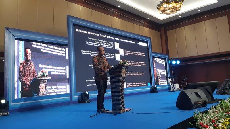 Menteri Kelautan dan Perikanan Edhy Prabowo menyampaikan sambutan dalam Rakornas KKP 2019, Rabu (4/12/2019). - Desyinta Nuraini