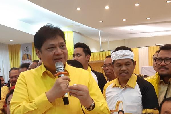 Airlangga Hartarto saat di kantor DPP Golkar Jakarta - Bisnis/Jaffry Prabu Prakoso