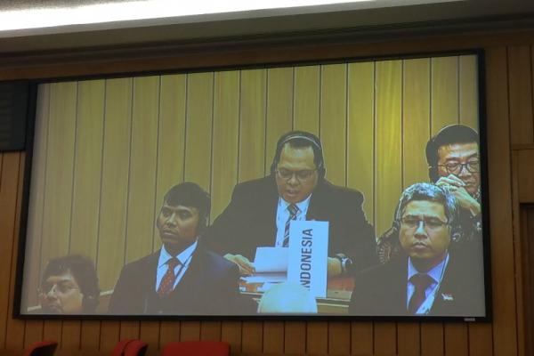 Wakil Ketua BPK Agus Pramono menyampaikan pernyataan di sela Sidang Majelis IMO ke-31di London, Inggris. - Istimewa/Ditjen Perhubungan Laut