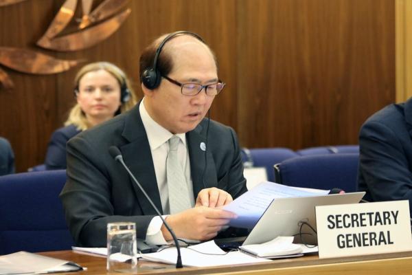 Sekretaris Jenderal IMO Kitack Lim di sela-sela pembukaan Sidang Majelis IMO ke-31 di London, Inggris. - Istimewa/IMO