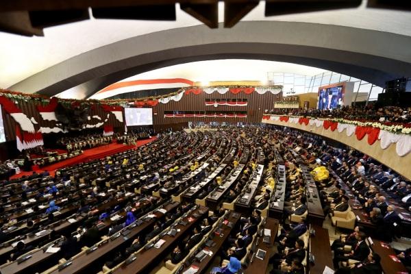 Suasana pelantikan Presiden dan Wakil Presiden terpilih  periode 2019-2024 di Gedung Nusantara, kompleks Parlemen, Senayan, Jakarta, Minggu (20/10/2019) - Bisnis/Nurul Hidayat