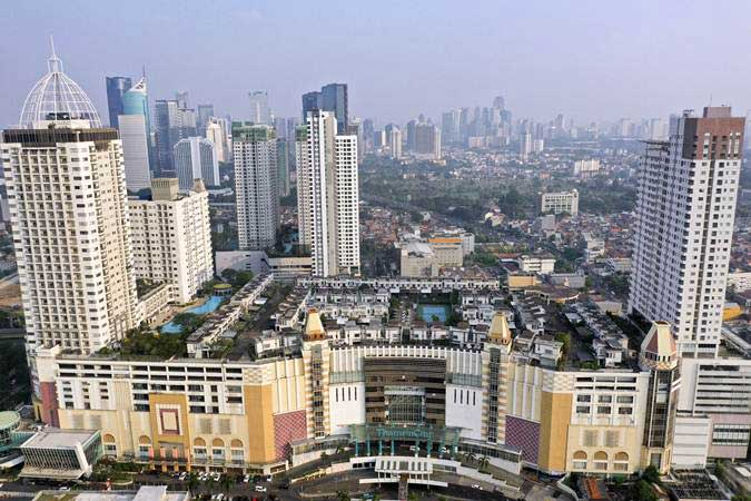 Foto aerial suasana perumahan yang berada di atas mal Thamrin City, Jakarta, Rabu (26/6/2019). - ANTARA/Nova Wahyudi