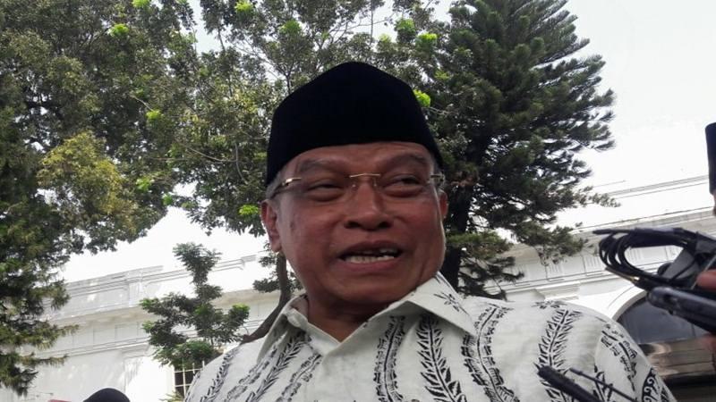 Anggota Dewan Pengarah Badan Pembinaan Ideologi Pancasila (BPIP) Said Aqil Siradj ditemui di halaman Istana Negara, Jakarta, usai menemui Presiden Joko Widodo, Kamis (9/5/2019). - Antara
