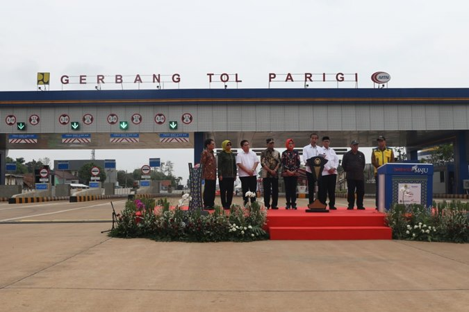 Presiden Joko Widodo telah meresmikan ruas tol Kunciran-Serpong, hari Jumat, 6 Desember 2019. Proses peresmian berlangsung di Gerbang Tol Parigi, Tangerang Selatan. - Istimewa