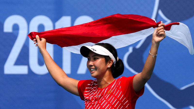Petenis Aldila Sutjiadi menyumbang dua edali emas untuk Indonesia di Sea Games 2019. - Reuters/Eloisa Lopez
