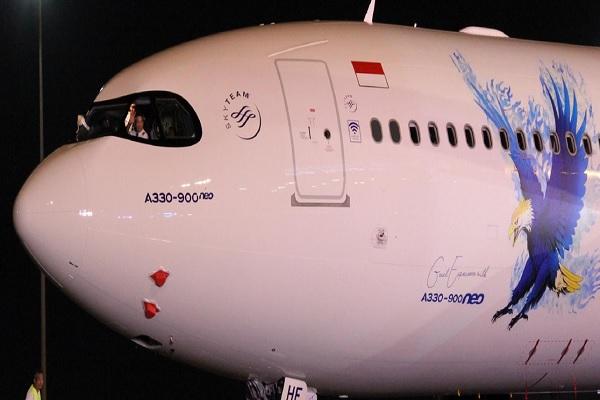 Maskapai nasional Garuda Indonesia saat menyambut armada A330-900neo di Hangar 2 Garuda Indonesia Maintenance Facility AeroAsia, pada hari Rabu (27/11/2019). - Dok. Garuda Indonesia