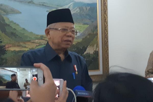 Wakil Presiden Ma'ruf Amin saat memberikan keterangan kepada wartawan. - Bisnis/Anggara Pernando