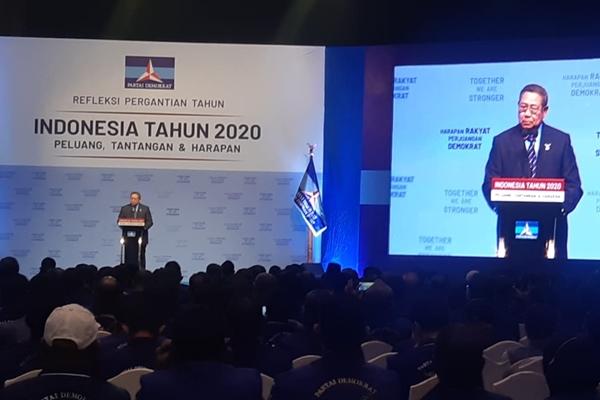 Ketua Umum Partai Demokrat Susilo Bambang Yudhoyono menyampaikan pidato refleksi pergantian tahun di JCC Senayan, Jakarta, Rabu (11/12/2019). - Bisnis/Jaffry Prabu Prakoso