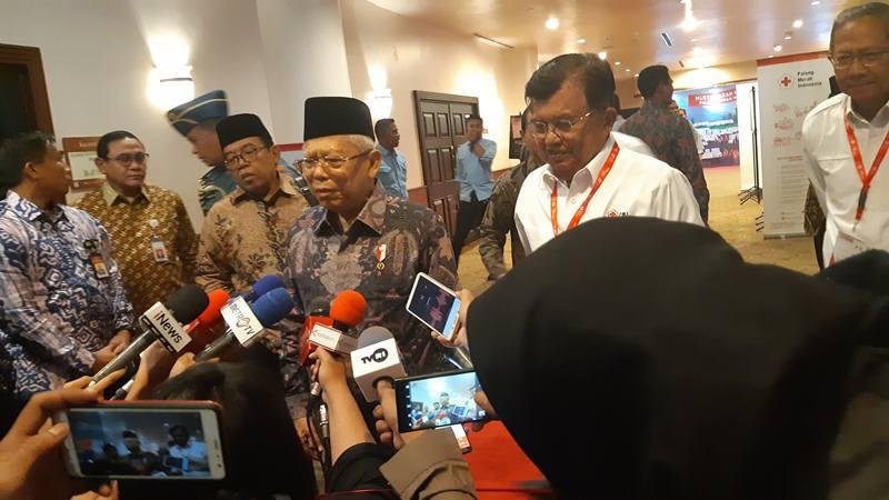 Wakil Presiden Ma'ruf Amin membuka Munas Palang Merah Indonesia didampingi Jusuf Kalla, Senin (16/12/2019). JIBI/Bisnis - Anggara Pernando