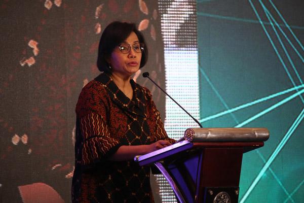 Menteri Keuangan RI Sri Mulyani Indrawatisaat memberi sambutan di acara The 1st ASEAN CPA Conference - Broaden The Horizon di Inaya Putri Nusa Dua, Bali, pada Rabu 16 Oktober 2019. - Bisnis/Sultan Anshori