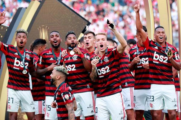 Flamengo ketika tampil sebagai juara Copa Libertadores 2019. - Reuters/Henry Romero