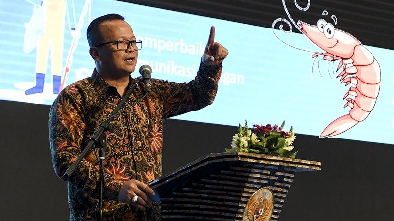 Menteri Kelautan dan Perikanan Edhy Prabowo menyampaikan pidato saat Rakornas KKP di Jakarta, Rabu (4/12/2019). -  ANTARA / Hafidz Mubarak A