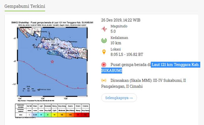 Peta gempa bumi - BMKG