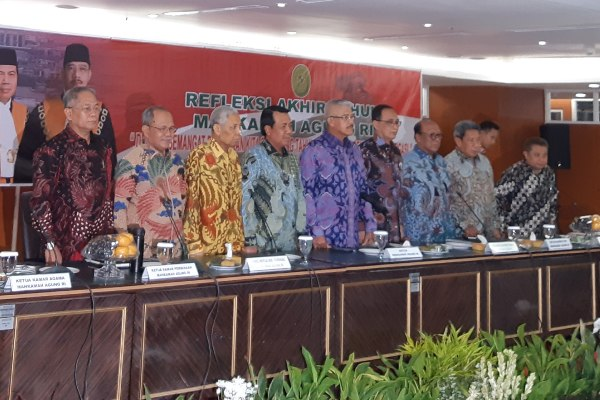 Para petinggi Mahkamah Agung (MA) dalam konferensi pers Refleksi Akhir Tahun MA di Jakarta, Jumat (27/12/2019). - Bisnis/Samdysara Saragih
