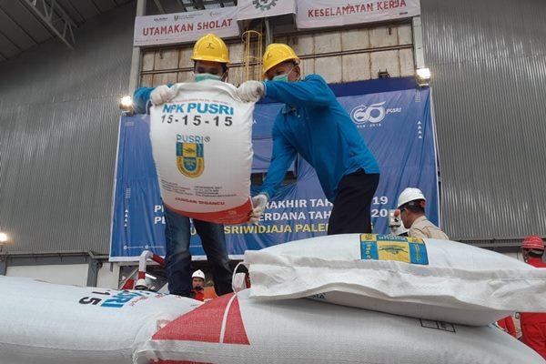 Karyawan PT Pusri Palembang melakukan pengantongan pupuk di Pabrik NPK 2 milik perusahaan - Bisnis/Dinda Wulandari.