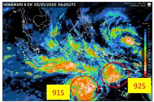 Bibit siklon tropis terpantau di wilayah Selatan Indonesia - BMKG