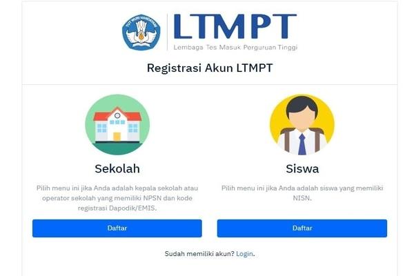 Laman resgistrasi akun LTMPT / portal.ltmpt.ac.id - reg