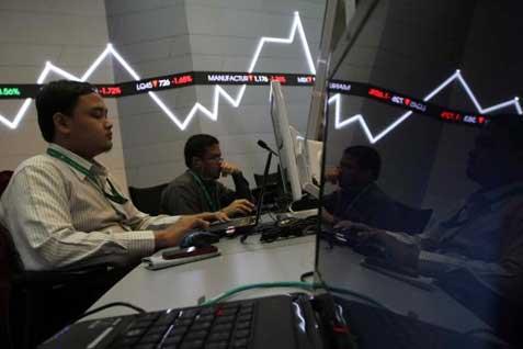 Ilustrasi perdagangan saham. Bisnis