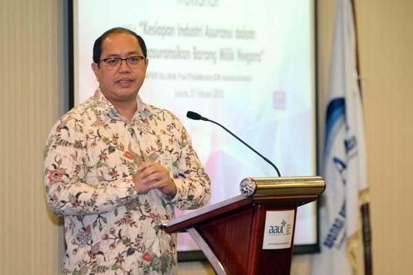 Direktur Jenderal Kekayaan Negara Kementerian Keuangan Isa Rachmatarwata menyampaikan sambutan pada workshop dengan tema Kesiapan Industri Asuransi Dalam Mengasuransikan Barang Milik Negara (BMN)  di Jakarta, Kamis (1/2). - JIBI/Dedi Gunawan