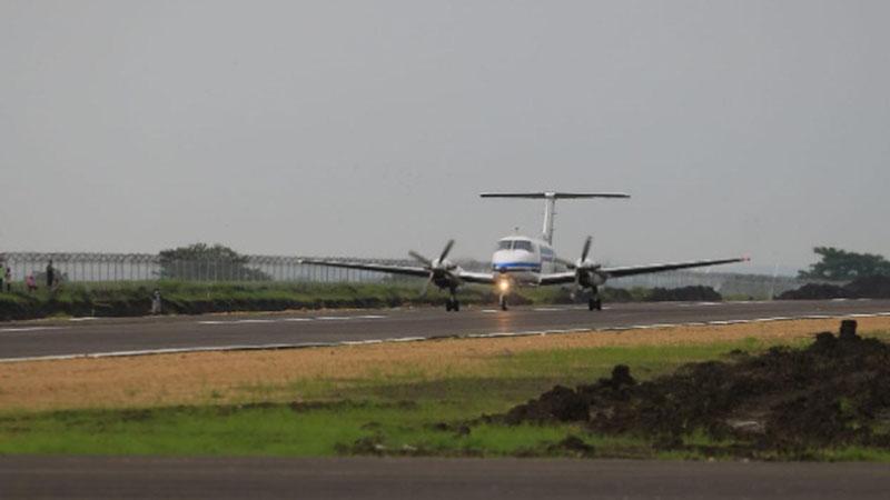 Pesawat King Air 200 GT mendarat di Bandara Ngloram di Blora, Jawa Tengah, pada Sabtu (11/1/2020). - Istimewa