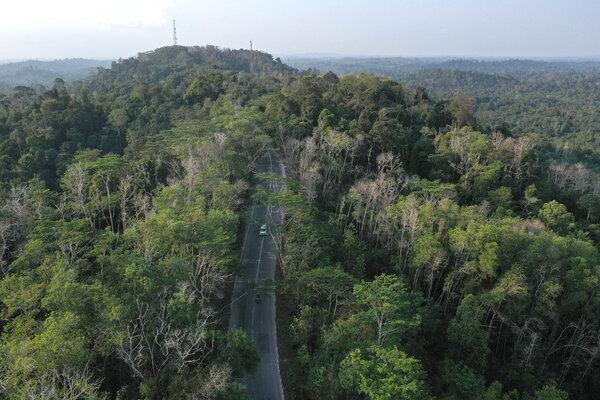 Foto aerial Taman Hutan Raya (Tahura) Bukit Soeharto di Kutai Kartanegara, Kalimantan Timur, Sabtu (31/8/2019). Sebagian dari kawasan yang masuk sebagai hutan konservasi itu nantinya akan digunakan untuk wilayah ibu kota baru. - ANTARA FOTO/Akbar Nugroho Gumay