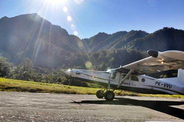 Pesawat Jenis Pilatus Porter milik maskapai Susi Air. Susi Air mengajukan permohonan penundaan kewajiban pembayaran utang terhadap Aviastar Mandiri - ANTARA/Spedy Paereng