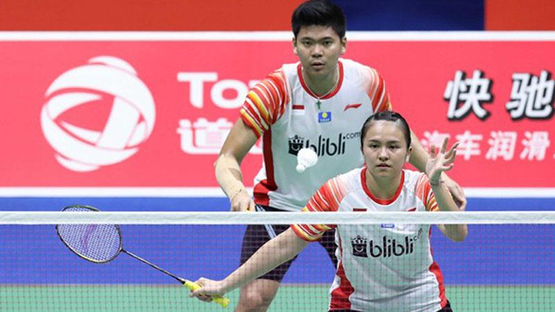 Ganda campuran Indonesia Praveen Jordan (kiri) dan Melati Daeva Oktavianti. - Badminton Indonesia