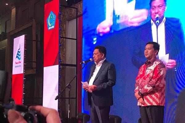 Gubernur Sulawesi Utara Olly Dondokambey memberikan sambutan dalam Pengucapan Syukur HUT ke-55 Provinsi Sulawesi Utara yang berlangsung di Manado Convention Center, Kota Manado, Senin (23/9/2019) malam. -  Bisnis / Nurhadi Pratomo