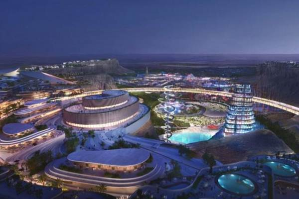Master Plan kompleks olah raga raksasa dan megah Qiddiya di Arab Saudi yang dipamerkan Qiddiya Investment Company pada Pada 2019. - Antara/SPA/Kantor Berita Saudi