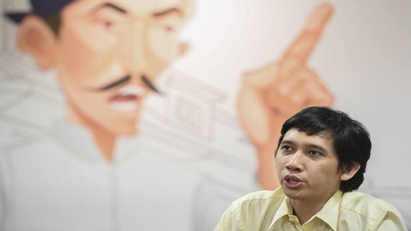 Musisi sekaligus aktivis Ananda Badudu memberikan keterangan pers di Gedung Tempo, Jakarta, Selasa (1/10/2019). - Antara