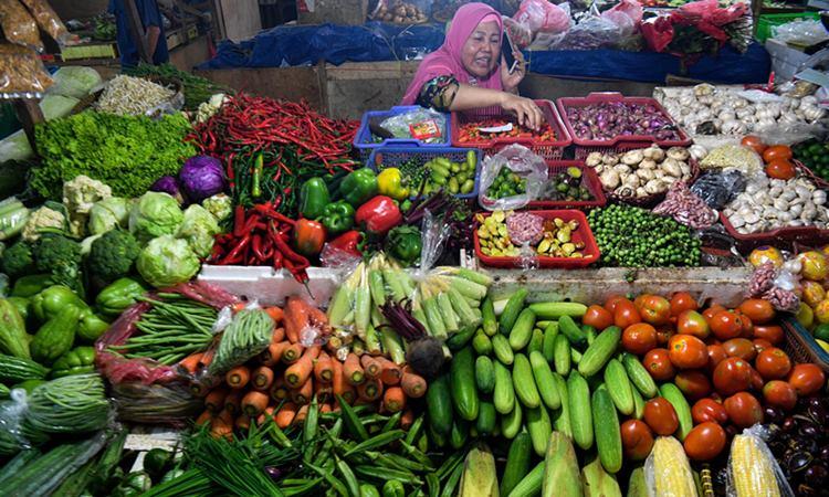 Pedagang menata sayuran yang dijual di Pasar Minggu, Jakarta Selatan, Senin (27/1/2020). - ANTARA/Sigid Kurniawan