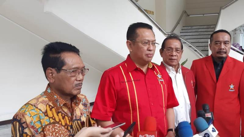 Ketua MPR Bambang Soesatyo (kedua kiri) mengunjungi Kantor Wapres Ma'ruf Amin di Jakarta, Selasa (4/2/2020). - Bisnis/Nindya Aldila