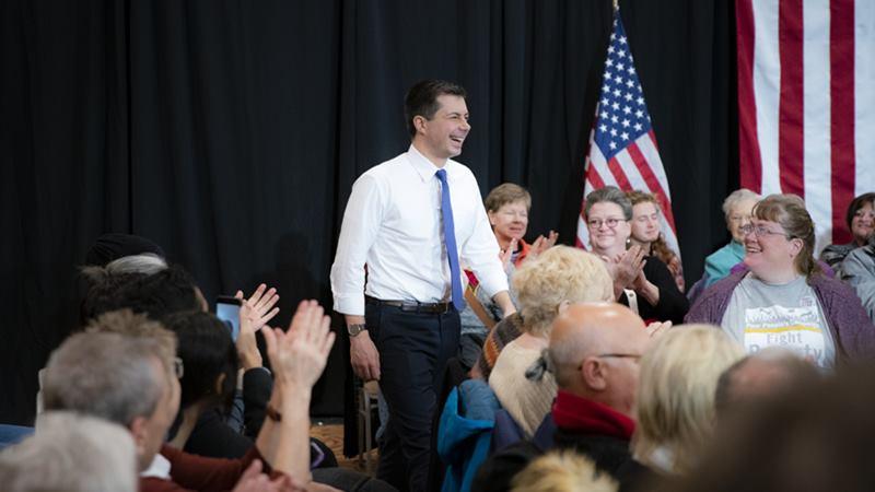 Pete Buttigieg dalam kampanye di Ames, Iowa pada 29 Januari 2020. -  Al Drago / Bloomberg