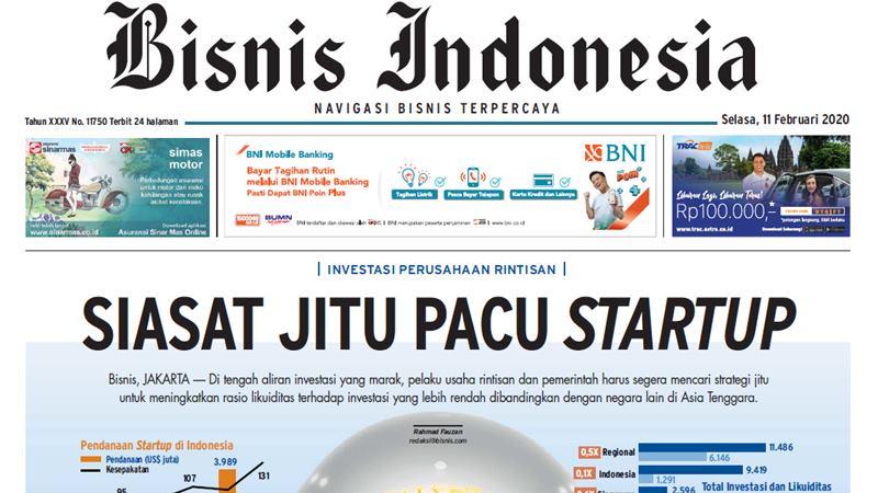 Headline Bisnis Indonesia 11 Februari 2020. -  repro