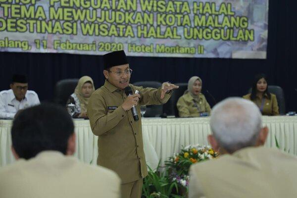 Wali Kota Malang Sutiaji pada Workshop Penguatan Wisata Halal di Malang, Selasa (11/2 - 2020).