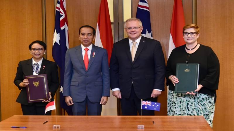 Presiden Jokowi bertemu dengan Perdana Menteri (PM) Australia Scott Morrison, didampingi Menteri Luar Negeri Retno Marsudi (kiri) Senin (10/2/2020). - Biro Pers Sekretariat Presiden
