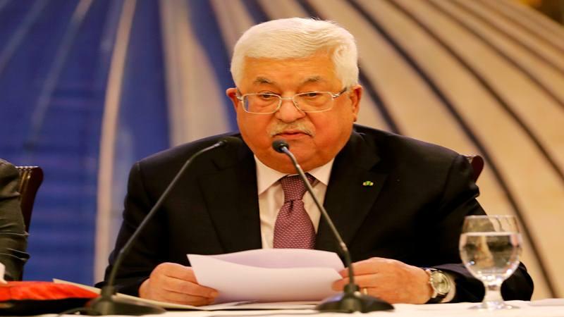 Presiden Palestina Mahmoud Abbas menyampaikan pidato menyusul pengumuman oleh Presiden AS Donald Trump tentang rencana perdamaian Timur Tengah, di Ramallah di Tepi Barat yang diduduki Israel, 28 Januari 2020. - Reuters