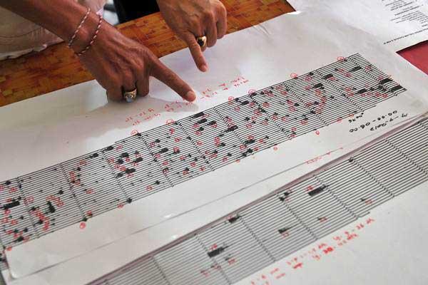 Ilustrasi-Petugas membaca grafik seismogram hasil pemantauan aktivitas Gunung Agung di Pos Pemantauan Desa Rendang, Karangasem, Bali, Selasa (19/9). - ANTARA/Nyoman Budhiana