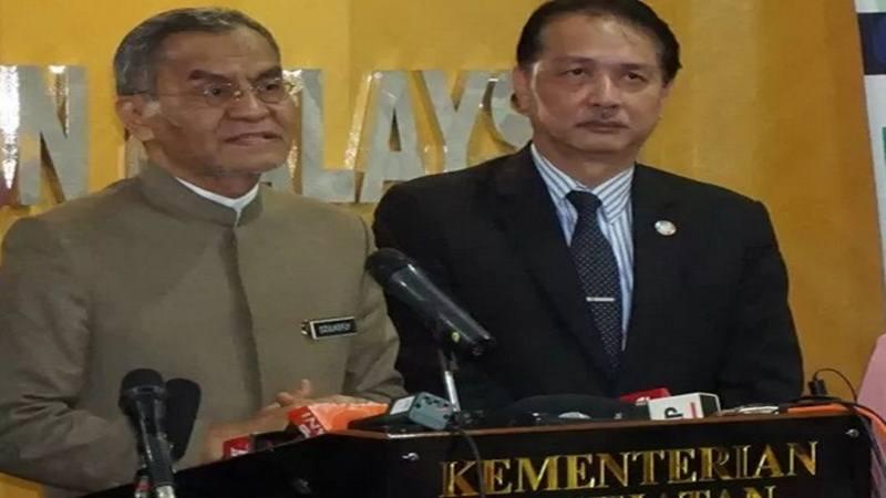 Menteri Kesehatan Malaysia Dzulkefly Ahmad saat jumpa pers. - Antara