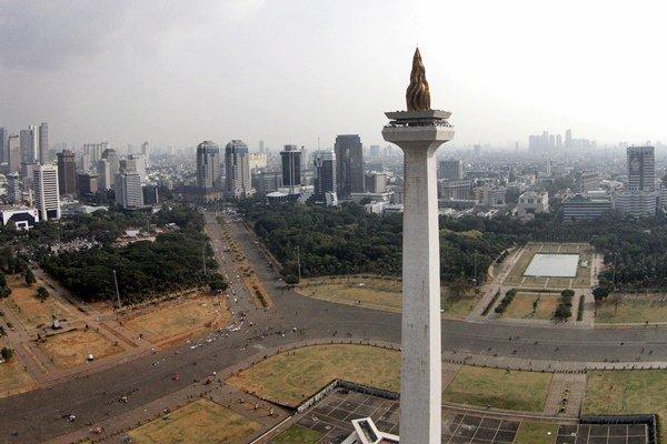 Foto aerial Monumen Nasional atau yang populer disebut dengan Monas atau Tugu Monas di Jakarta Pusat, Selasa (2/6/2015). - Antara/Andika Wahyu