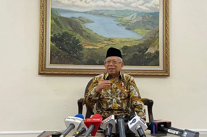 Wakil Presiden Ma'ruf Amin memberikan keterangan pers di Kantor Wapres RI, Jakarta, Kamis (13/2/2020). - Antara
