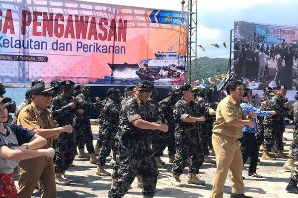 Apel siaga pengawasan sumber daya kelautan dan perikanan di Pelabuhan Perikanan Samudera Bitung, Kota Bitung, Sulawesi Utara, Senin (17/2/2020). - Bisnis