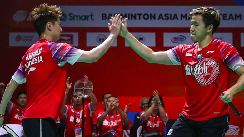 Kevin Sanjaya-Marcus Fernaldi Gideon di BATC 2020 - Badminton Indonesia