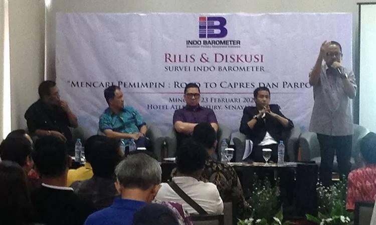 Paparan hasil survei Indo Barometer terkait tokoh potensial menjadi calon presiden di Pemilu 2024 di Jakarta, Minggu (23/2/2020). - Antara